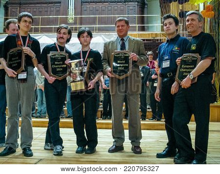 PRAGUE, CZECH REPUBLIC - MARCH 31, 2004: World champions team of St Petersburg Institute of Fine Mechanics and Optics at ICPC contest in Obecni Dum hall in Prague, Czech Republic on March 31, 2004.