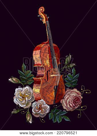 Embroidery violin and roses. Classical embroidery musical violin and buds of flowers roses. Fashion art, template for clothes, t-shirt design art