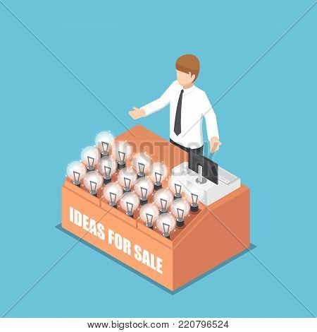 Flat 3d isometric businessman selling his idea. Business idea concept.
