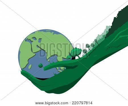 illustration of nature hands holding a globe with. Ecology theme. Vector element for your design