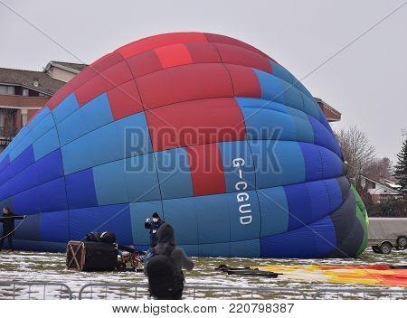 Mondovì, Italy, 5 January 2018: inauguration of the 30th International Balloon Meeting of the Epiphany