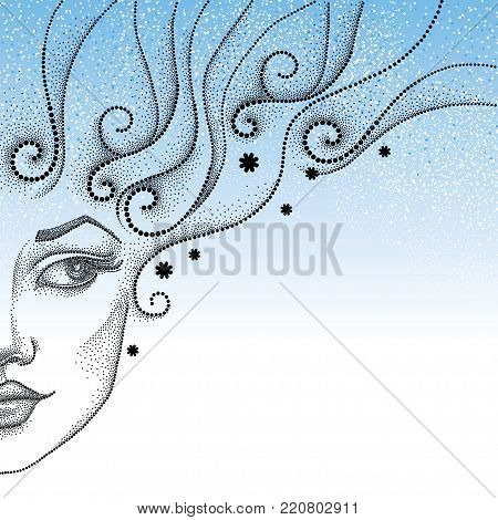 Vector drawing of half dotted beautiful girl face with snowflake and curly hair in black on the blue background. Winter background in dotwork style. Winter theme with woman face and snowflakes.