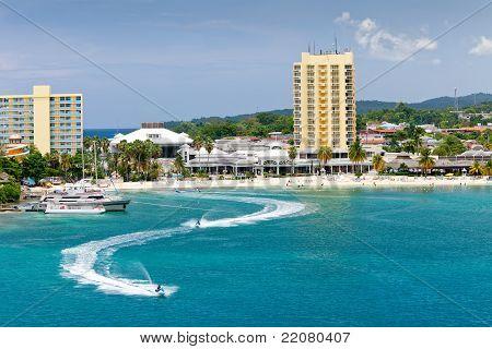 Beach and Tourism Area of Ocho Rios Jamaica poster