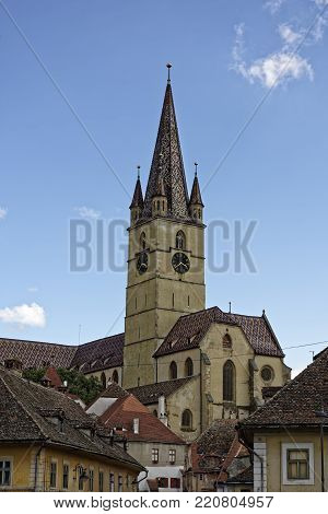Evangelical Cathedral Sibiu Romania medieval architecture view from Cibin
