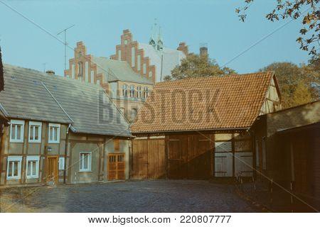 Erster Damm street in the city of Salzwedel in German Democratic Republic, 1986. Scan of slide film.