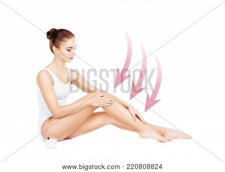 Fit and sporty young girl with arrows isolated on white background. Health, sport, fitness, nutrition, at lose, epilation, cellulite removal, liposuction, healthy life-style concept.