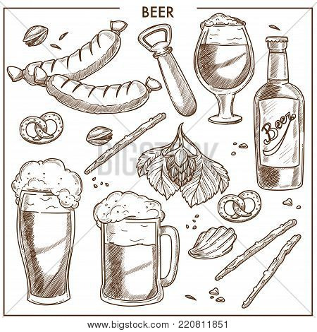Beer of high quality and tasty snacks sketches. Bottles and glasses with frothy drink, leafy hop, crispy crackers, fried sausages and simple opener cartoon vector illustrations on white background.