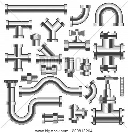Silver shiny polished tubes and pipeline details with cranes isolated realistic vector illustrations set on white background. Metal solid equipment for house plumbing installation and repairment.