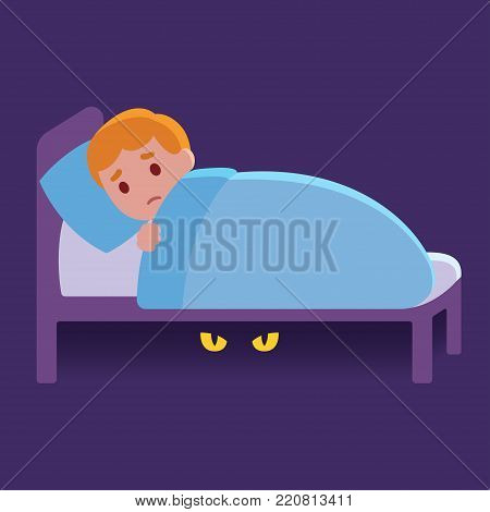 Little boy can't sleep scared of monster under his bed. Chilhood fears cartoon vector illustration.