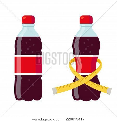 Regular and diet soda bottles vector illustration. Skinny bottle with measuring tape. Sugar and artificial sweeteners in drinks.