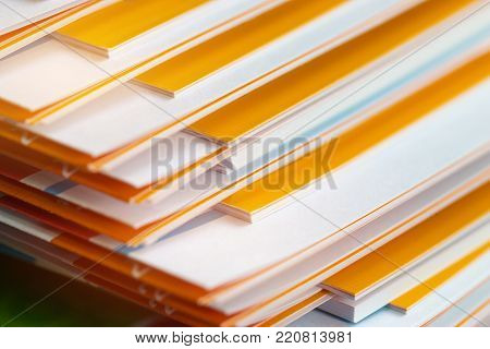 Stack of report paper documents for business desk, Business papers for Annual Report files, Document is written,presented. Business offices concept, soft focus