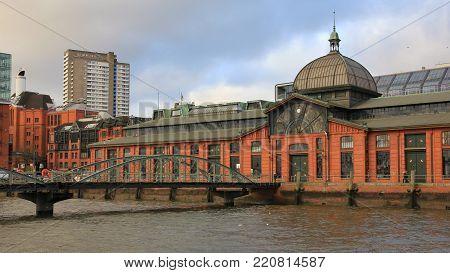 Fischmarkt. Beautiful architecture in Hamburg Altona. Elbe.
