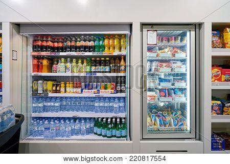 MILAN MALPENSA, ITALY - CIRCA NOVEMBER, 2017: icecream and beverages on display at Milan-Malpensa airport.