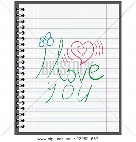 Confession in love, calligraphy on a sheet of paper from a school notebook, vector concept Declaration first love, flower, excitement of the heart.