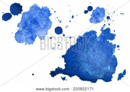 Multicolored watercolor splash texture blots background isolated. Grunge hand drawn blob, spot and droplets. Watercolour splatter stain effects. Spring and winter seasonal colors drips abstract.