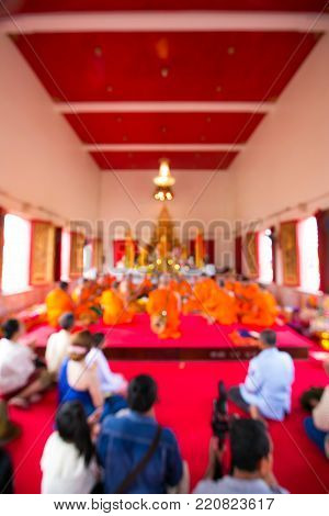 Blurred background ,Thai Ordination Ceremony ,Thai Culture for Every Man Becoming a New Monk or Priest.