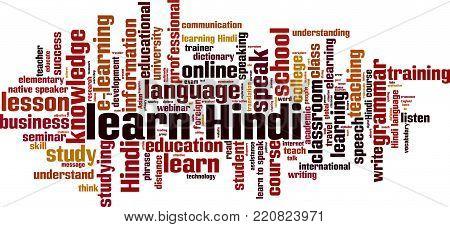 Learn Hindi word cloud concept. Vector illustration