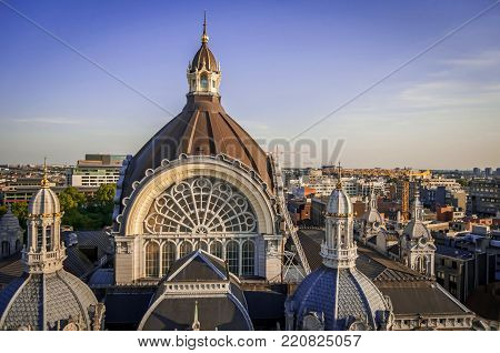 ANTWERP, BELGIUM. July 18, 2017. The dome of the Antwerp Central Railway Station (