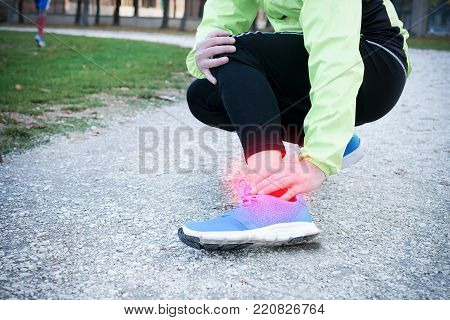 Ankle injury and man runner exercising with leg pain because overtraining