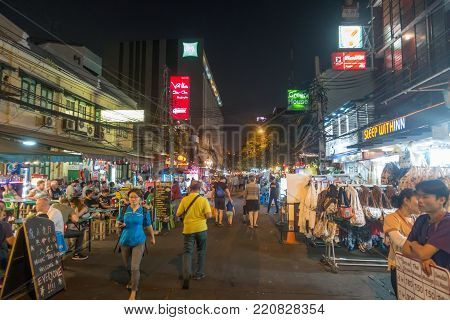 BANGKOK, THAILAND - December 22 2017: Khaosan road in the night. Khao San Road is a famous low budget hotels and guesthouses area in Bangkok.