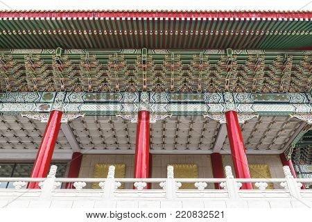 Zhongzheng District, Taipei/ Taiwan - November 26, 2017: Chinese Architecture Art Of Taiwan National