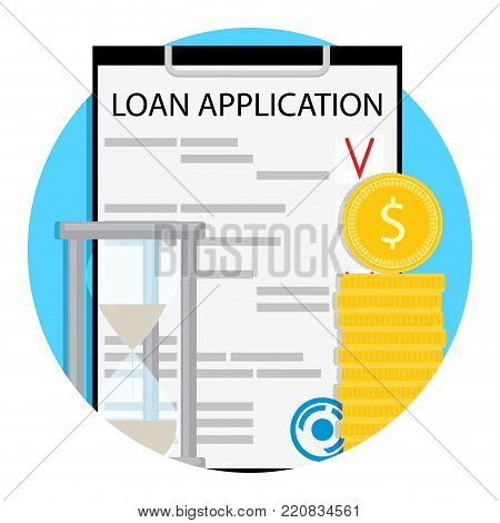 Finance loan pay time icon vector. Money and bank, finance credit, business loan and personal loan illustration