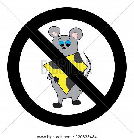 Ban mouse icon. No rodent and rat, restriction forbidden, vector illustration