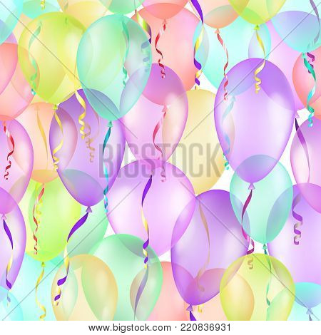 Balloons seamless pattern background, beautiful colorful illustration, , contains transparencies.