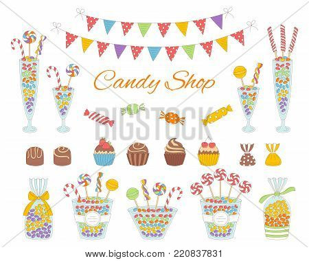 Vector illustration of candy shop with colorful sweets, candies in glass jars, lollipops, sweetmeats, assorted chocolates, cupcakes and bunting flags. Hand drawn doodle illustration.