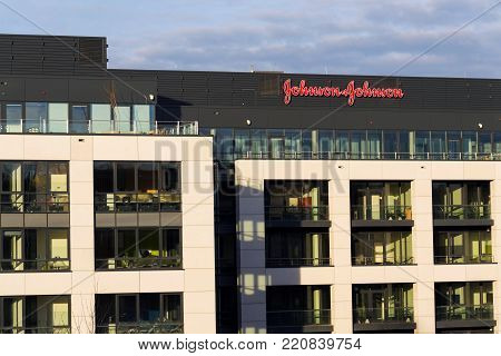 Prague, Czech Republic - January 6: Johnson & Johnson Company Logo On Headquarters Building On Janua
