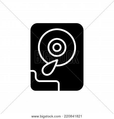 Hard disk line icon. Isolated on white background. Eps 10
