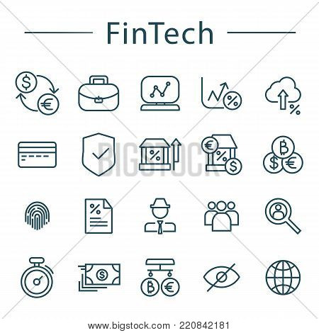 Fintech line icons set. Vector illustration. Blockchain, bitcoin, fingertip, global, card, bank notes icons included.