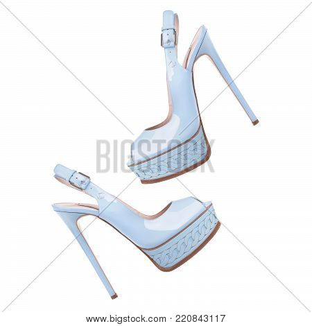 Blue sandals with high heels and a platform on a white background
