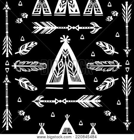 Seamless pattern with silhouettes of wigwams, arrows and feather