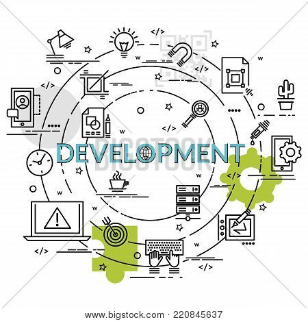 Flat colorful design concept for Development. Infographic idea of making creative products. Template for website banner, flyer and poster.