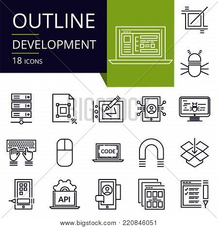 Set of outline icons of Development. Modern icons for website, mobile, app design and print.