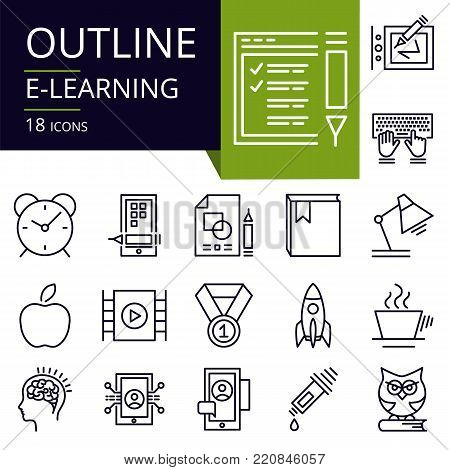 Set of outline icons of E-Learning. Modern icons for website, mobile, app design and print.