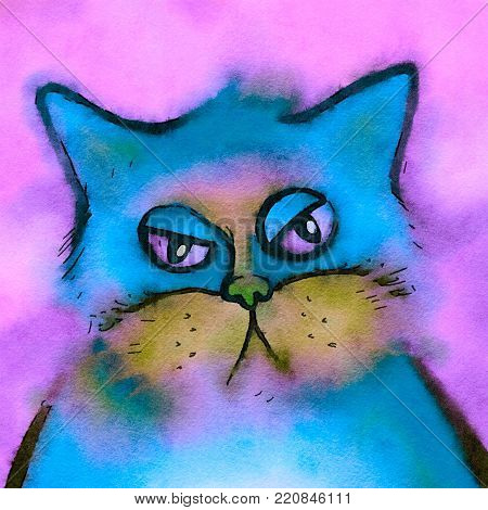 A cute portrait of a fluffy watercolor cat with a bored grumpy expression.