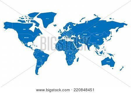 Simplified map of World in blue. Schematic vector illustration