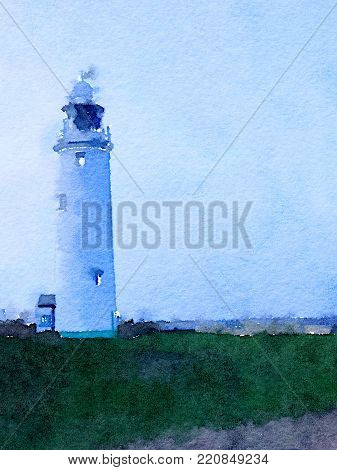 Digital watercolor painting of a white lighthouse at dusk with a blue background and green grass in the foreground with space for text.