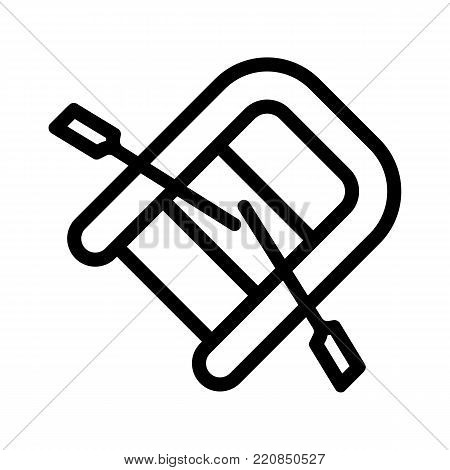 Rubber lifeboat.The boat, which weighs on the sides of large boats for the rescue. Ship and water transport single icon in black style vector symbol stock illustration. eps 10