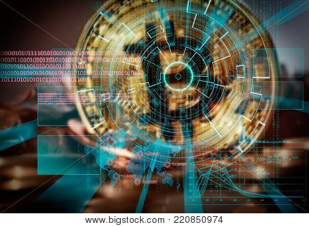 Bitcoin background with futuristic hud as synonym of global cryptocurrency trade