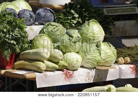 cabbage exposed on stalls in the market