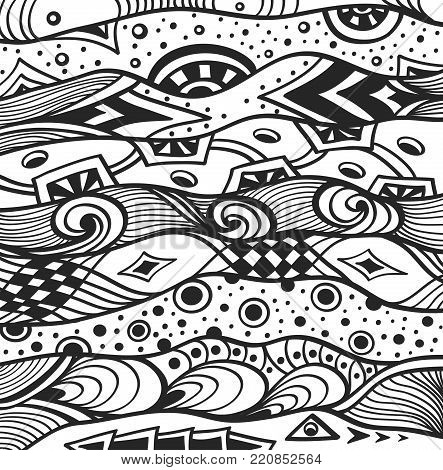 Abstract handmade Ethno Zentangle Zendoodle  background  black on white for coloring page, or adult relax coloring book or for decoration package or for wallpaper and other things