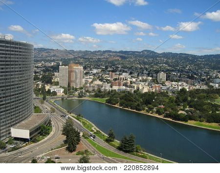 Aerial shot looking down on Lake Merritt, Oakland, California
