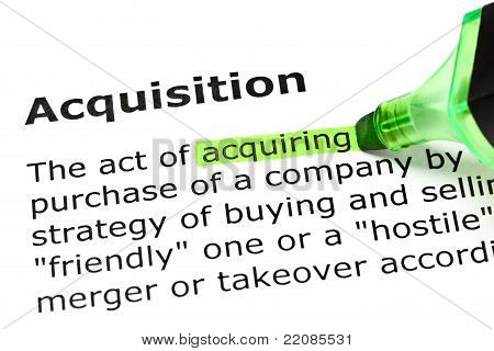 'acquiring' Highlighted, Under 'acquisition'