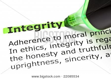 'integrity' Highlighted In Green