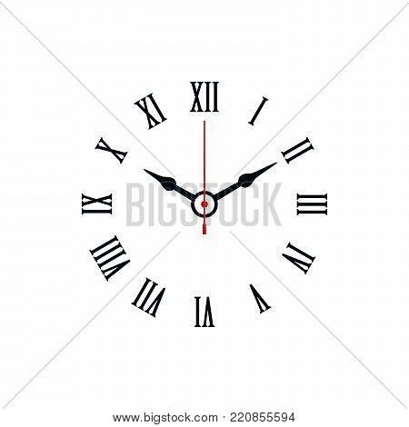 Roman numerals shaped minimal clock icon on white background.