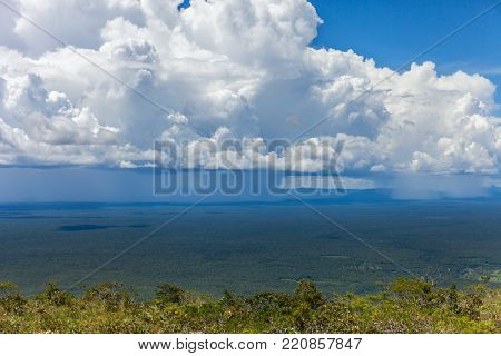 Rapidly approaching a tropical rainstorm passes through the rain forest. stock photo