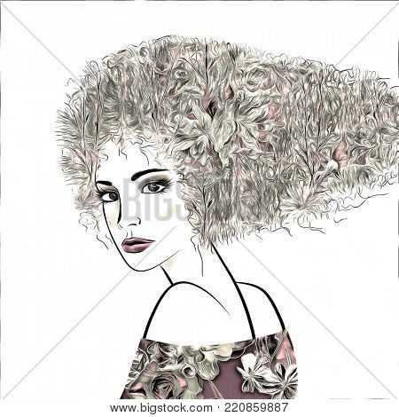 art monochrome illustration with face of beautiful girl with black floral curly hair, in party dress isolated on white background in graphic style